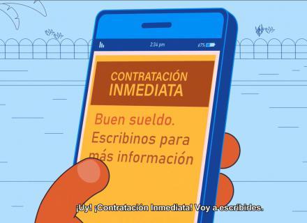 """Ilustración de celular en el que se lee """"Contratación Inmediata"""""""