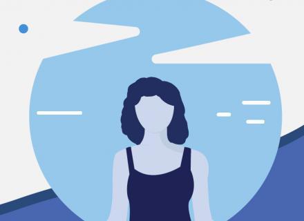 Imagen ilustrada de persona meditando con fondo de nubes