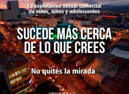 Imagen de la ciudad al atardecer, con texto que nos recuerda que la trata de personas sucede a nuestro alrededor.